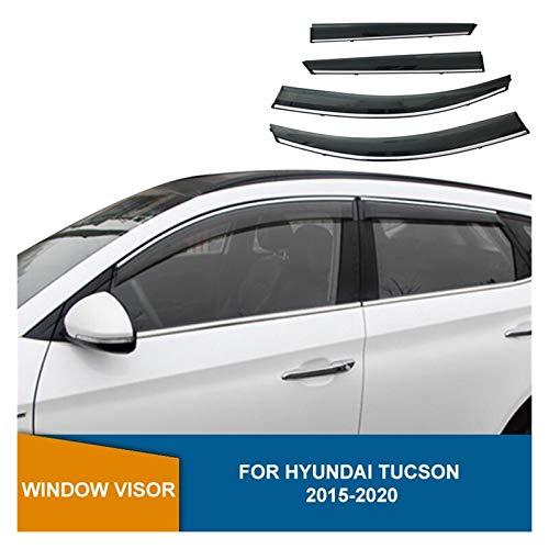 ZLLD Windabweiser Für Hyundai Tucson 2015-2020 Seitenfenster Deflektor Rauchfenster Visier Sonnenregen Deflektor Guards Hxjh Hintere Windabweiser