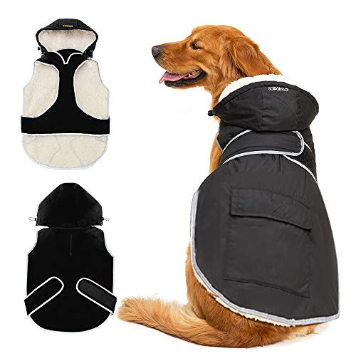SCIROKKO Dog Winter Coat with Removable Hat - Waterproof and Reflective Cold Weather Jacket Hoodie for Large Dog - Black Extra Large