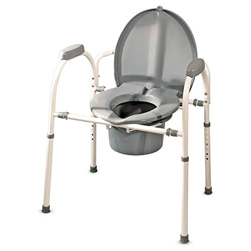 Medpro Comfort Plus Commode Chair With Adjustable Height and Extra Wide Ergonomic Seat, Gray