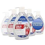 (6 pz da 600ml) Sanitec Sani Gel Igienizzante Mani 77% Alcol, Disinfettante, Antibatterico senza risciacquo