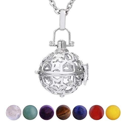 Morella Damen Halskette 70 cm Edelstahl mit Anhänger Sterne und 7 Edelsteinen Chakren-Kugeln in Schmuckbeutel