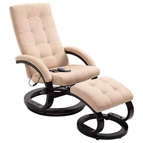 vidaXL Massagesessel mit Fußhocker Hocker Wärmefunktion Massage Relaxsessel Fernsehsessel TV Sessel Polstersessel Creme Stoff in Veloursleder-Optik