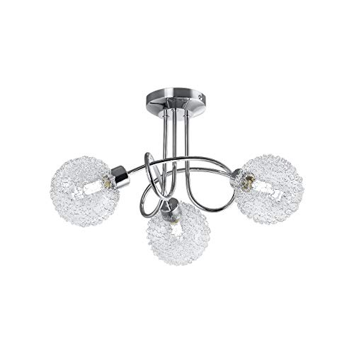 B.K.Licht Lámpara de techo con 3 x 3,5 W bolas de cristal, luz de techo moderna de metal incl 3 bombillas LED G9 230V, IP20 blanco calido 3000K