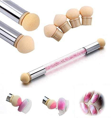 Doble Cabezal Esponja de Uñas Punteado,Gradiente Pluma Cepillo Nail Art herramienta,incluye 4...