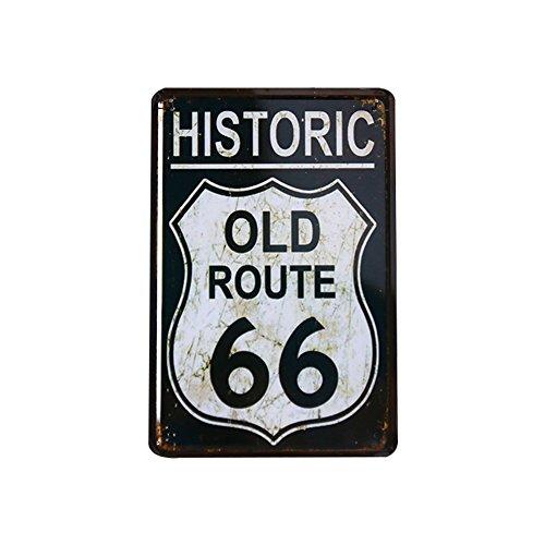 Chytaii.Señal De Retro Poster De Ruta 66 Placa De Hierro para Pared Hogar Oficina Bar Cafetería (A)