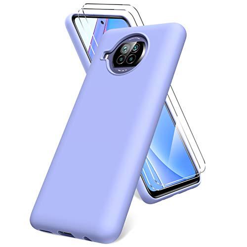 Oududianzi Hülle für Xiaomi Mi 10T Lite 5G, Panzerglas Bildschirmschutzfolie, weiche TPU Flüssigsilikonhülle, stoßfestem Gummi Silikongel Fall-lila