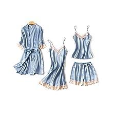 DEBAIJIA Bata Kimono Mujer Pijama Albornoz Sexy Cuello de Pico Encaje Conjunto de Albornoces Camisón Vestidos De Dormir Transpirable (Blanco-M)