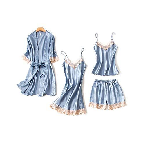DEBAIJIA Bata Kimono Mujer 2 Piezas Pijama Albornoz Sexy Cuello de Pico Encaje Conjunto de Albornoces Camisón Vestidos De Transpirable Dormir (Verde Oscuro-L)