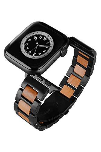 LAiMER - Correa de reloj compatible con Apple Watch de 20 mm, acero inoxidable - Correa de repuesto de madera de manzana - Correa de reloj para Apple iWatch 42/44 mm - Series 6/SE/5/4/3/2/1