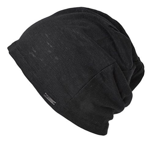 CHARM Mens Summer Linen Beanie - Slouchy Lightweight Knit Hat Slouch Cap Casualbox Black