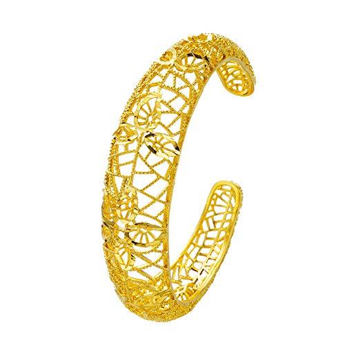 Pulsera calada de boda de imitación de 24 K, oro amarillo, disponible en latón