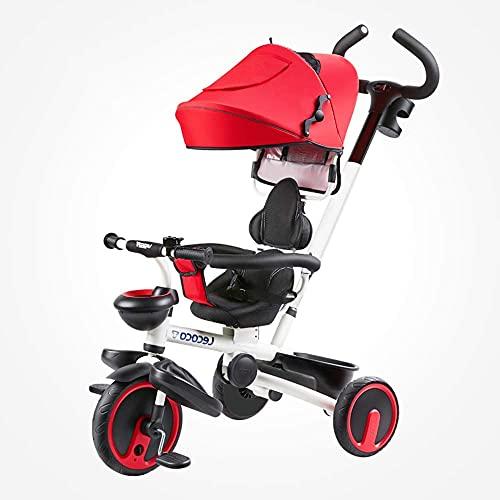 Triciclo Trike Triciclos para niños, sillas de ruedas, niño de 16 años de edad, niña, barandilla extraíble, toldo y putt, cinturones de seguridad de dos puntos, rueda de amortiguación (color: rojo)