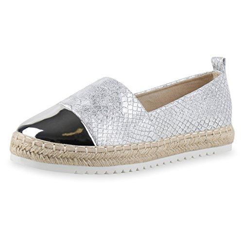 SCARPE VITA Damen Slipper Metallic Espadrilles Lack Flats Schuhe Bast 160397 Silber Metallic 39