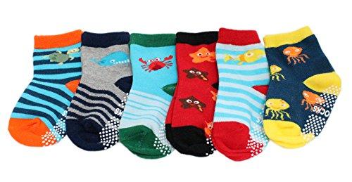 FunSocks - Colourful Baby World - Lot de 6 bébé garçon chaussettes à rayures multicolores en coton antidérapant (1-3 Ans)