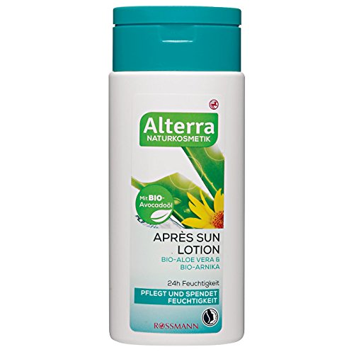 Alterra Après Sun Lotion Bio-Aloe Vera & Bio-Arnika 200 ml mit Bio-Avovadoöl, 24h Feuchtigkeit, pflegt & spendet Feuchtigkeit, zertifizierte Naturkosmetik, vegan