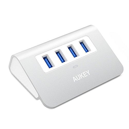AUKEY Hub USB 3.0 4 Porte SuperSpeed 5Gbps in Alluminio con Cavo USB 3.0 100cm e LED Indicatore USB Hub per Apple MacBook, MacBook Air, MacBook PRO, iMac - Argento