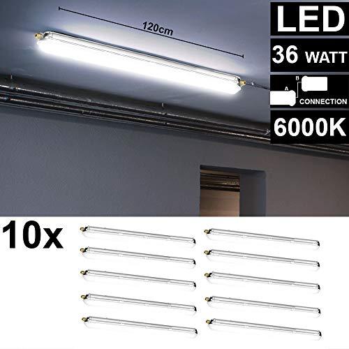 10x LED Wannen Lampen Decken Außen Leuchten Feucht- Nassraum Garagen Tageslicht Beleuchtung