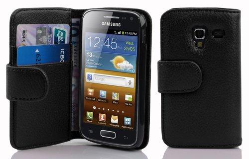 Cadorabo Hülle kompatibel mit Samsung Galaxy ACE 2 Hülle in Oxid SCHWARZ Handyhülle mit Kartenfach aus struktriertem Kunstleder