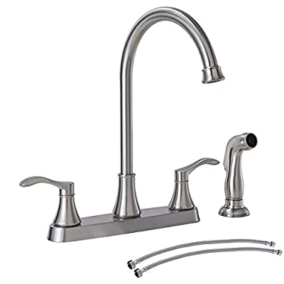 VALISY Commercial sus304 Stainless Steel Brushed Nickel Two Handle Kitchen Sink Faucet, 3 Hole or 4 Hole Faucets for Rv Kitchen Sinks with High Arc Spout & Side Sprayer