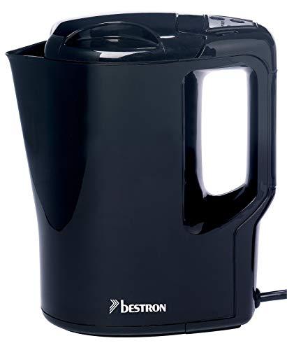 Bestron Handlicher Reise-Wasserkocher mit Kochstopp-Automatik, 0,9 Liter, 500 Watt, Schwarz