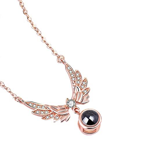 Te Amo Collar 100 Idiomas Colgante de Proyección de Ala Collar de Clavícula de Memoria Amorosa(Rose Gold-100 Idiomas-Blanco y negro F)