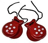 rojo Castañuelas para niños 2 pares de castañuelas Castañuelas rojas Castañuelas españolas Color de lunares Colores tradicionales españoles Regalo de recuerdo de España Percusión de mano