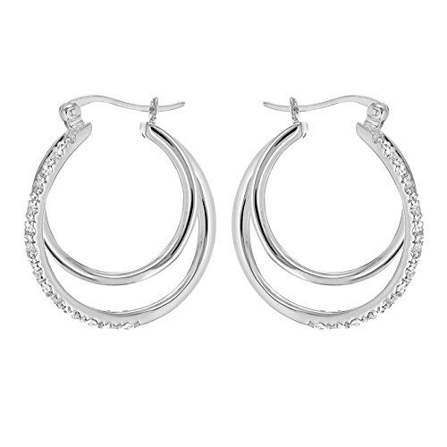 Tuscany Silver Creolen Sterling Silber Weiß Zirkonia Doppelt Reifen