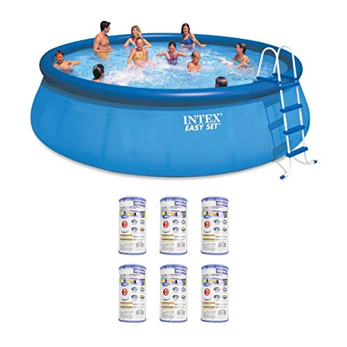 Intex 18' x 48' Inflatable Easy Set Above Ground Pool Set + Filter Cartridge (6)