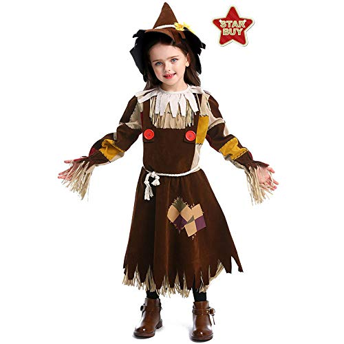 COSOER Disfraz De Espantapájaros Mago De Oz Traje De Bruja De Halloween para El Día del Niño,Brown-L(135-150)