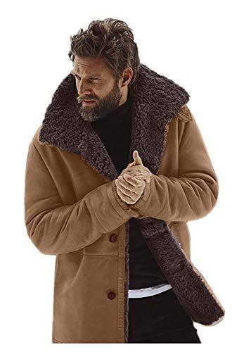 Men's Wool Heavy Coat, Men's Long Sleeve Winter Warm Casual Hooded Anorak Coat Outwear Pullover Jacket Green XL