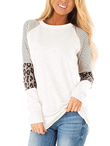 HARHAY Women's Leopard Print Color Block Tunic Round Neck Long Sleeve Shirts Striped Causal Blouses Tops White M