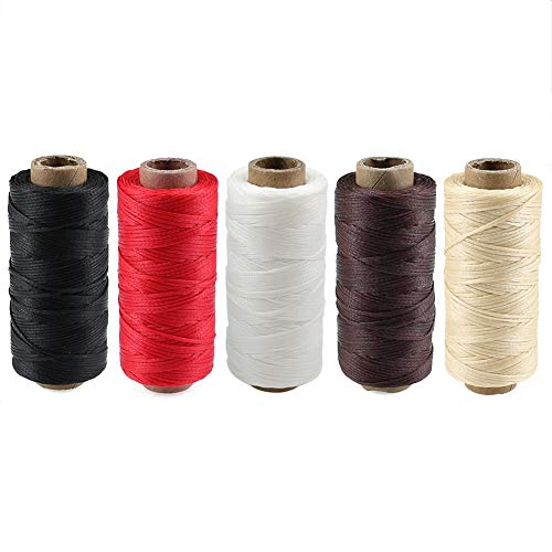 Lot de 5 bobines de fil ciré 150D robuste pour loisirs créatifs, artisanat, filetage et couture Noir, marron, blanc, beige et rouge 1 mm x 50 m
