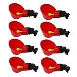 8 tazze per l'irrigazione del pollo, in plastica rossa, per abbeveratoio automatico, per uccelli di bestiame, gallina, anatra, quaglie