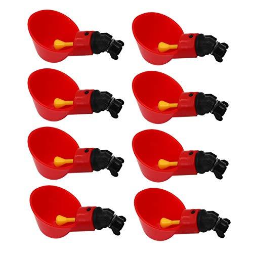 Geflügeltränke Automatisch Hühnertränke, Wassertränke Tränke für Hühner Vögel, Rot 8PCS