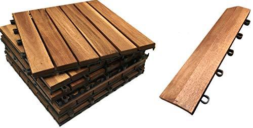 Click-Deck Dalles de terrasse en bois dur et bords droits – Pour terrasse, balcon, terrasse de toit, terrasse de bain à remous...