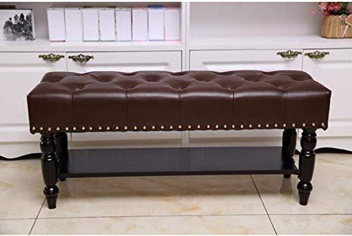 QQXX ShoeBench StorageFauxLeatherTufted Ottoman FootstoolShoe rackSolid WoodStorage Hocker HallwayBedroom (Farbe: Mokka, Größe: 100 cm)