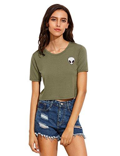 Romwe - Camiseta de manga corta para mujer verde L
