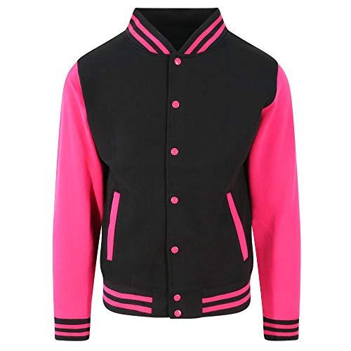 Just Hoods - Unisex College Jacke 'Varsity Jacket' Gr. - XXL - Jet Black/Hot Pink