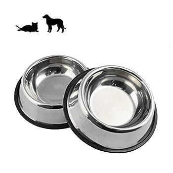 Lot de 2 gamelles antidérapantes en acier inoxydable pour chat avec base en caoutchouc, gamelles et bols d'eau - 17,8 cm