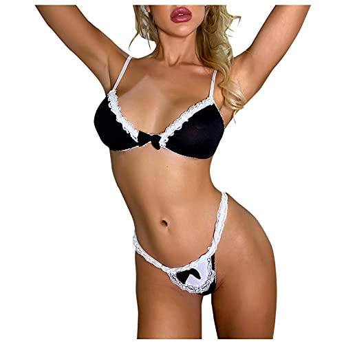 BIBOKAOKE Damen Erotische Dessous-Set Push Up BH Set Sexy Unterwäsche Set Lingerie Negligee Babydoll Dessous mit Spitze BH Und String Damen Reizwäsche Bodys Nachtwäsche