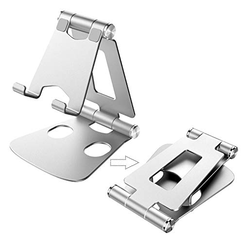 Cell Phone Stand, Fully Foldable, Adjustable Phone Stand Holder Cradle Desktop Dock for Desk, Home, Office, Travel, Compatible with All Smartphone, Phone 11 Pro Xs Xs Max X 8, Tablets (7-10'), Silver