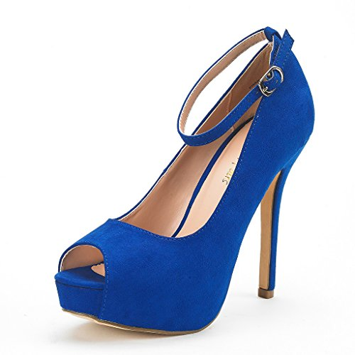 DREAM PAIRS Women's Swan-10 Royal Blue High Heel Plaform...