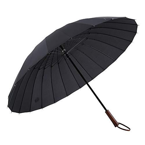 Regenschirm Massivholz-Griff 24 Knochen in über Regenschirm Männer Business Long Griff Sunny Umbrella Schwarz Außen