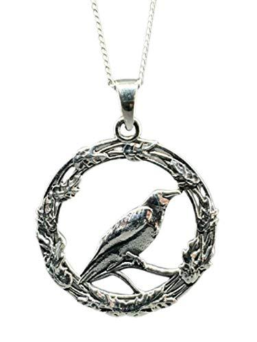Eclectic Shop Uk Colgante de plata de ley 925 con amuleto de cuervo y el roble de 45,7 cm, collar de bruja wiccana, caja (Bs5Lo1)