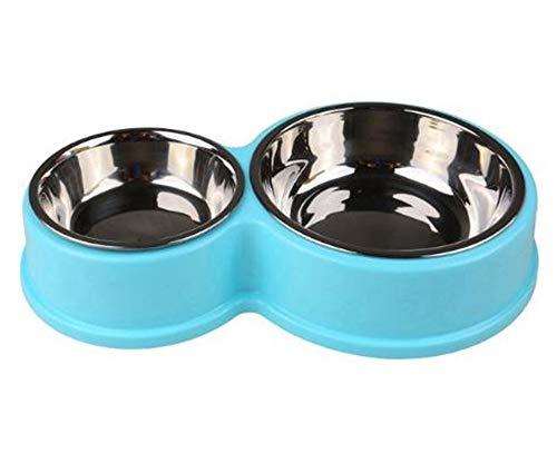 Hpybest Edelstahlnapf für Hunde, Doppelnapf, Kunststoff, 8 geformte Katzen-Futternäpfe für kleine Hunde