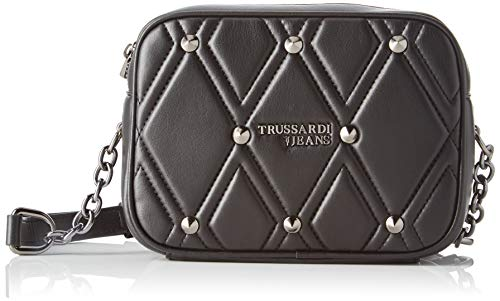 Trussardi Jeans T cube Q Cacciatora Md Quilted Women's Cross Body Bag, Black, 17x13x6 centimeters (W x H x L)