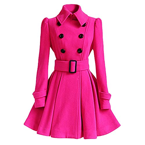 Caopixx Outwear for Women Overcoat Winter Warm Woolen Coat Trench Parka Jacket with Belt