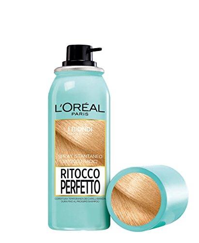 L'Oréal Paris Spray Radici Ritocco Perfetto, Colorazione Ricrescita, Copre i Capelli Bianchi e Dura 1 Shampoo, Biondo, 75 ml, Confezione da 1