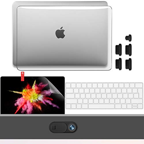 GMYLE Protective Case Compatible with New MacBook Pro 13 inch Case 2020 Release M1 A2338 A2251, Plastic Hard Shell Case & Keyboard Cover& Screen Protector& Webcam Cover, Anti Dust Plugs, Crystal Clear