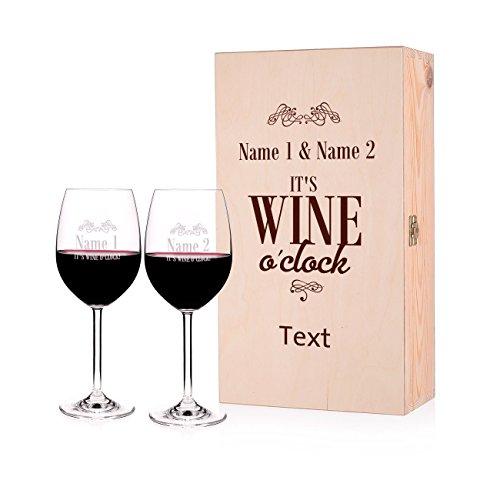 Leonardo 2 Weingläser zur Hochzeit/Geburtstag/Jubiläum - wine o'clock - mit Namen und Wunschtext in Premiumbox